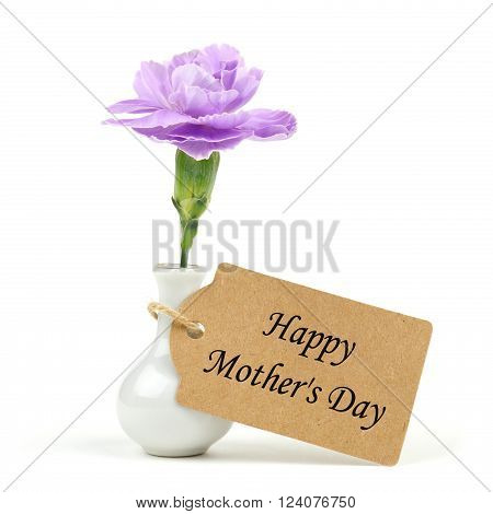 Happy Mother's Day Tag With Small Vase And Single Purple Carnation Flower Against A White Background