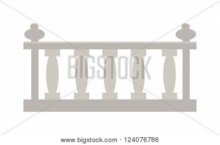 Railing steel home outdoor decoration and balcony railing. Railing modern staircase gate. Old building border element barrier. Vintage railing made of stone or gypsum architectural metal vector.