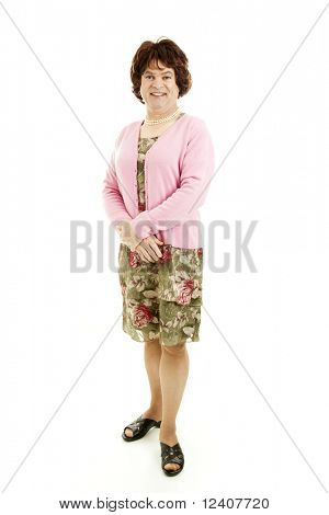 Humorous photo of a middle-aged man dressed as a woman.  Isolated on white.