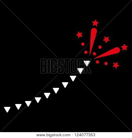 Fireworks Trace vector icon. Fireworks Trace icon symbol. Fireworks Trace icon image. Fireworks Trace icon picture. Fireworks Trace pictogram. Flat red and white fireworks trace icon.