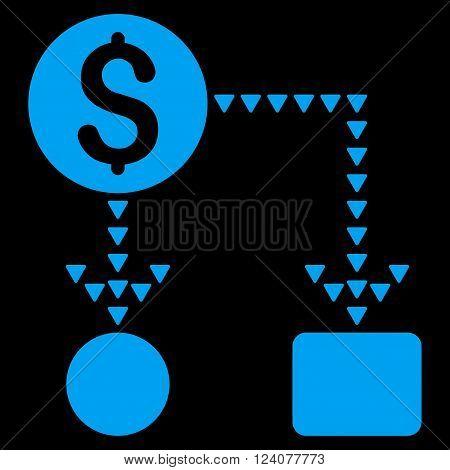 Cashflow Scheme vector icon. Cashflow Scheme icon symbol. Cashflow Scheme icon image. Cashflow Scheme icon picture. Cashflow Scheme pictogram. Flat blue cashflow scheme icon.