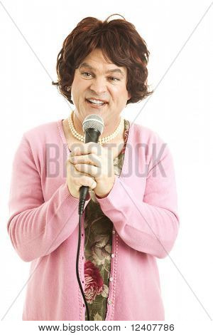 Humorous photo of a man dressed as a frumpy female singer.  Isolated on white.