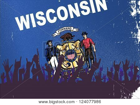 Audience happy reaction with Wisconsin State flag background