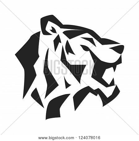 Black tiger face and wildcat siberian tiger face. Tiger fase power symbol. Danger tiger fase animal expression. Portrait siberian tiger by safari animal. Tiger face head black silhouette wild animal logo vector.