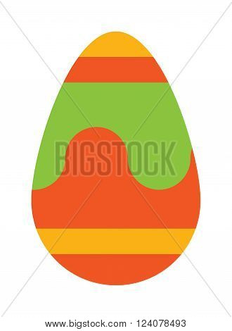 Color easter egg cartoon spring decoration and food egg symbol flat vector illustration. Colorful easter egg traditional painted easter food, easter egg seasonal ornament.