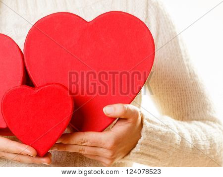 Girl Holding Cute Hearts.
