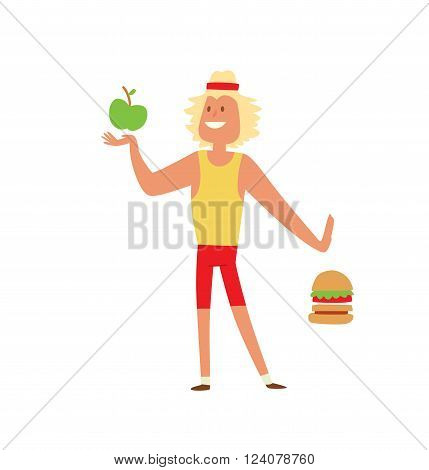 Fast food people restaurant hamburger person and fast food burger lunch lifestyle people. Fast food eating people. Young skinny people with package not recommended fast food not healthy food vector.