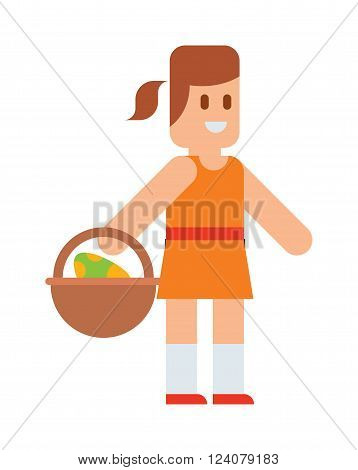 Happy Easter smiling little girl with basket full of colorful easter eggs and cartoon easter girl. Easter fun smile girl. Girl funny. Easter girl with traditional spring basket eggs cartoon vector.
