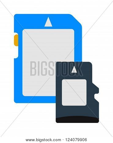 Memory storage technology flash card and sd information memory card. Memory card mobile store equipment. Micro security design. Micro SD memory card data digital storage technology flat vector.