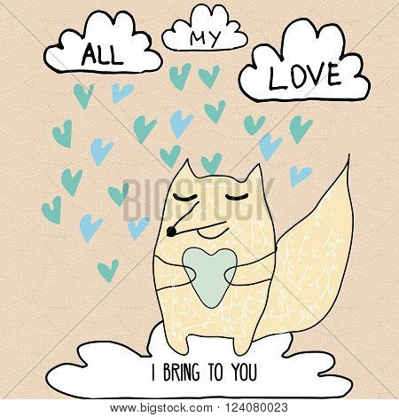 Romantic inspirational card with fox character and love clouds with hearts rain. Valentine romantic love card for wedding lovers and couples design. Cartoon sketch style