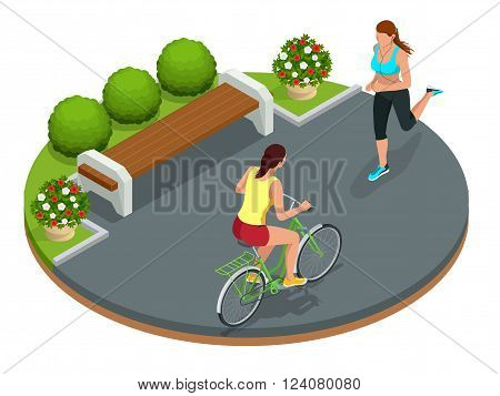 Biker in park, woman running Cycling on bike path. Weekend excursion on their bikes on summer day. Flat 3d vector isometric illustration. People riding bikes. Bikers and bicycling. Sport and exercise