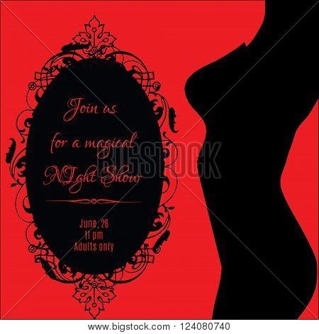 Night show erotic banner with sexy woman's body silhouette and decorative frame