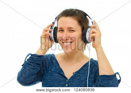 Young woman wear white big headphones, isolated over white background