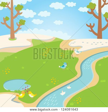 Spring background, nature grass and spring background landscape with nature birch trees. Spring river. Natural green grass spring background with river, trees, birds and white clouds vector.