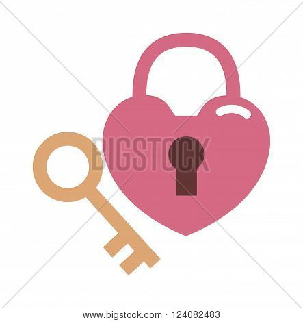 Wedding lock vector illustration. Wedding lock flowers. Beautiful wedding lock isolated on white background. Wedding lock flat style