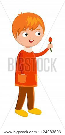Funny cute vector boy with flower. Boy character, boy walking. Flat cute syle boy vector illustration. Flat vector boy cartoon character
