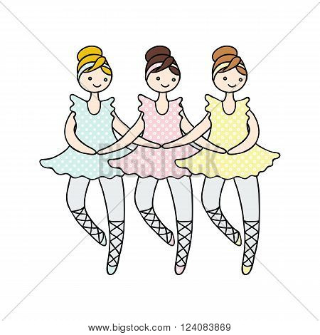 Illustration of tilda doll ballerinas during small swan dance. Toys.