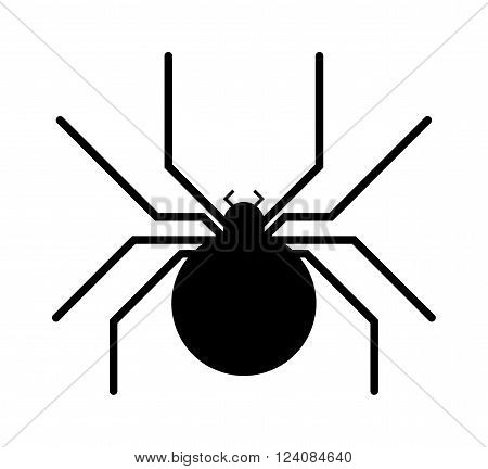 Spider black silhouette arachnid fear graphic and spider black silhouette scary, animal poisonous design. Spider black silhouette nature phobia. Black spider insect danger silhouette vector icon.