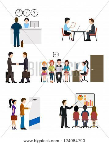 On the image is presented Icons on business banking system flat style