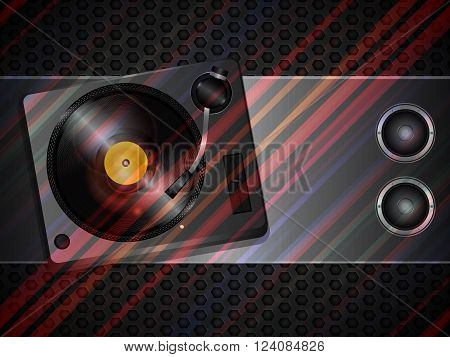 Record Deck Turntable and Loudspeakers Over Brusced Metallic Panel with Coloured Stripes