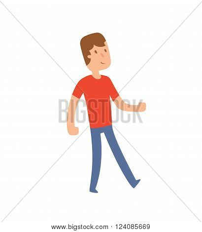 Funny cute vector boy walking illustration. Cartoon boy character, boy walking. Flat cute syle boy vector illustration