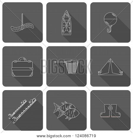 Set of simple line flat fishing icons. Outdoor activity hobby concept