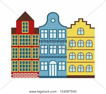 Amsterdam House cityscape and traditional amsterdam house dutch cityscape. House old Dutch style. Traditional old buildings Amsterdam house netherlands architecture traditional travel vector.
