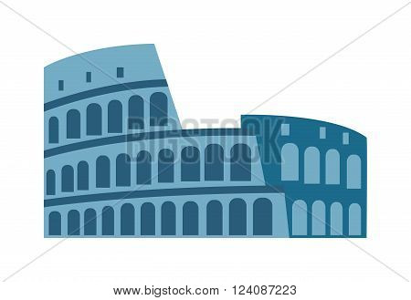 Amphitheater ruin architecture history and old roman landmark amphitheater ruin. Amphitheater arena ruin famous coliseum. Amphitheater ruin an ancient architecture history city vector illustration.