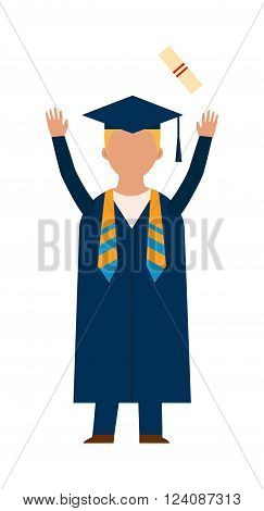 Graduation education people successful graduate students knowledge school university college graduation people infographic concept. Happy graduation people icons uniform throwing caps vector.