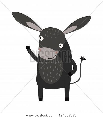 Cartoon comic happy donkey and cute smile horse cartoon donkey. Cartoon donkey caricature domestic mammal. Farm animal mule cartoon donkey. Funny cartoon gray donkey farm animal character vector.