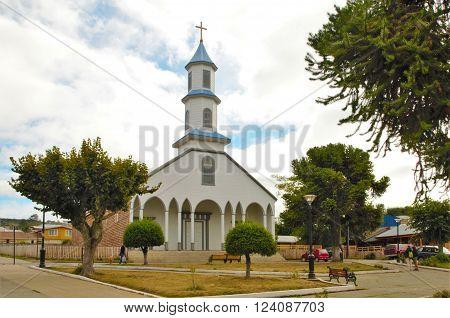 White wooden church in Castro on the island Chiloé in Chile