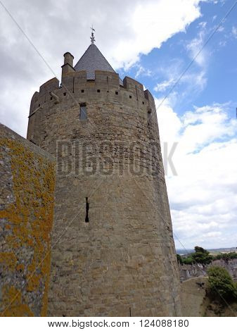 Medieval tower in Carcassonne France, made of stone
