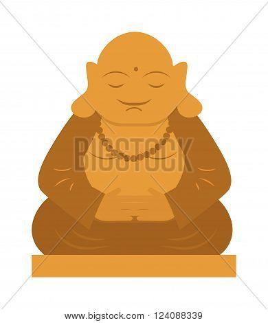 Meditation culture gold buddha statue. Asian religion buddha statue calm face.