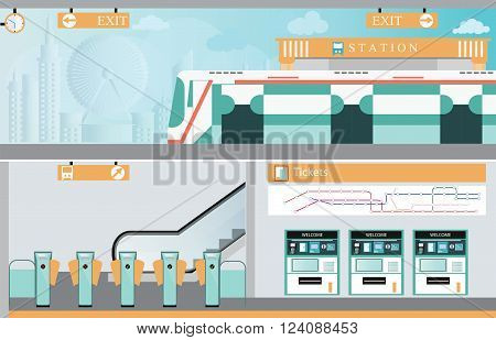 Subway railway interior Train ticket vending machines Railway Map Entrance of railway station transportation vector illustration.