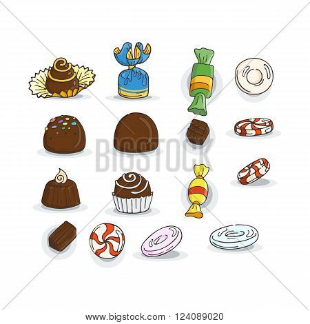 Set of Candy Icons. Glaze, caramel, candy, lollipops, chocolates, truffles.