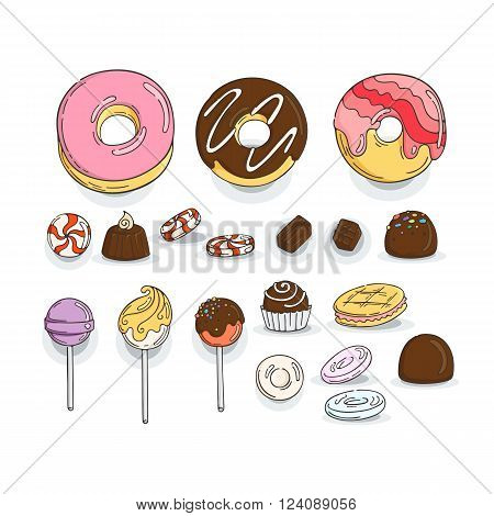 Set of Candy and Muffins Icons. Cakes, Sweets, Lollipops, Bows.