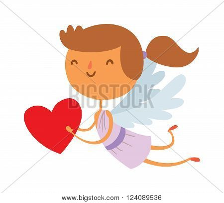Cartoon cute cupid angel smile girl kid vector silhouette. Romance cupid angel, child little cupid angel. Cupid angel wedding celebration. Baby cupid angel cartoon vector.
