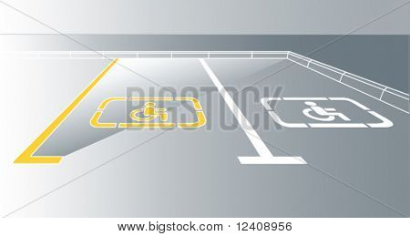 vector illustration of pavement parking sign for handicaped people