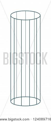 Vector 3d flat cylinder with edge isolated on white background.