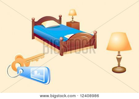 vector illustration of the hotel room objects (bed, lamp, key)
