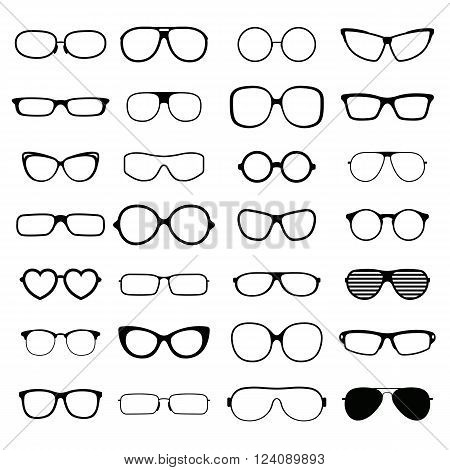 Black fashion glasses silhouette and optical sunglasses black glasses silhouette. Glasses lens accessory frame collection. Collection various styles of fashion glasses solid black silhouette vector.