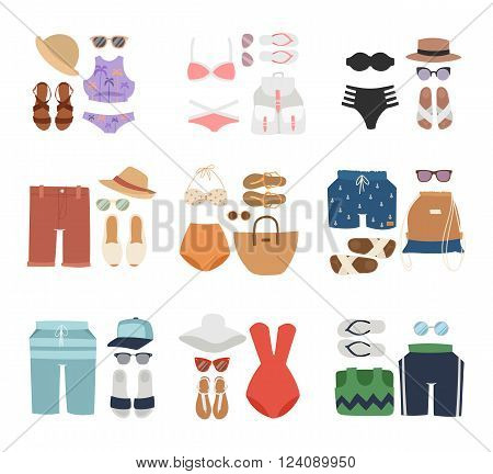Beachwear cloth fashion looks and beachwear vacation lifestyle. Beachwear women collection, beachwear sea light sexy clothes. Beachwear fashion travel different flat vector summer icons.