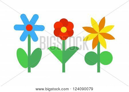 Flowers icons nature and colorful flowers icons. Flowers icons abstract blossom design and flat flowers icons decorative beautiful plants. Flower icons colorful plants nature flat vector.