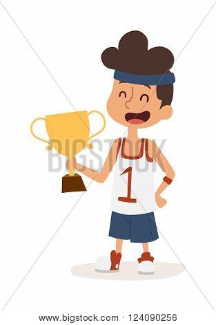 Sportsman boy healthy lifestyle concept and boy sportsman with award. Little boy holding gold winner award. Strong athletic looking boy sportsman kid showing his muscles award character vector.