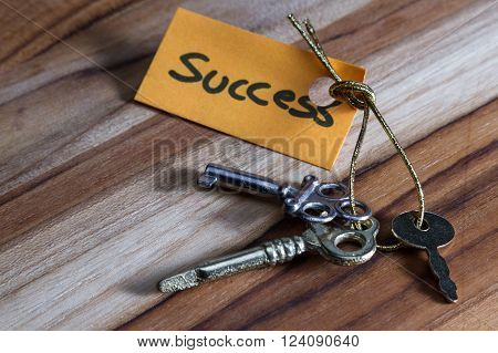 concept for a happy successful life using an old decorative key and a hand written tag attached by a golden cord