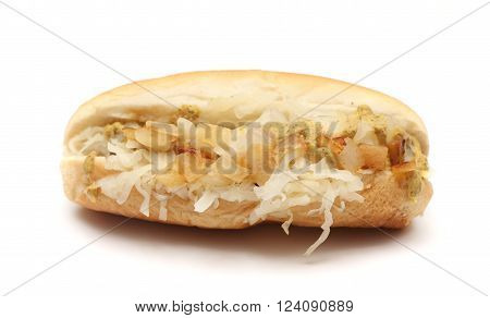 A fresh hotdog on a white background ** Note: Soft Focus at 100%, best at smaller sizes