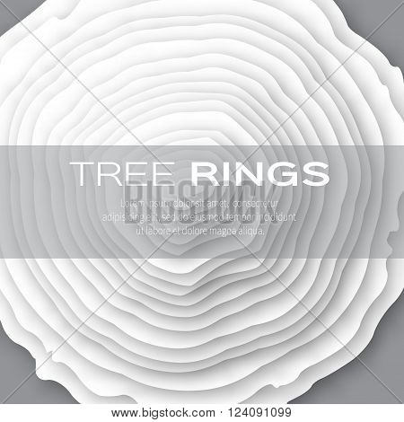 Tree rings with saw cut tree trunk - cut from paper concept background. Forestry and sawmill. Vector illustration - eps10