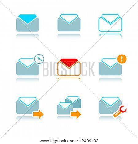 ícone de vetor definido por e-mail na caixa de correio de internet