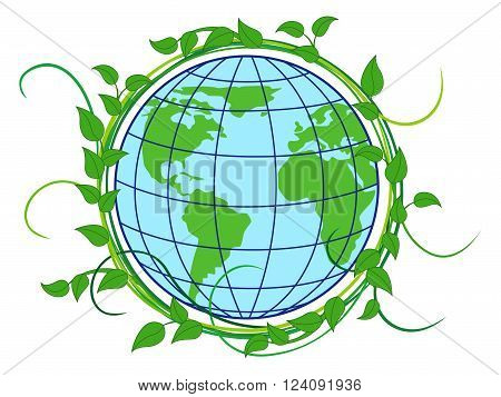 Planet Earth with depiction of continents in the wreath with green lianas as a concept of Earth Day vector illustration isolated on the white background