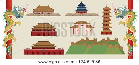 vector of Chinese lanmark isolated on brown background